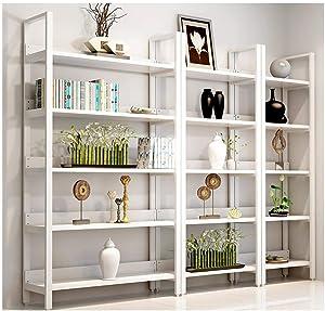 Yanxinenjoy Ménage Acier Bois étagère bibliothèque étagère Multicouche bibliothèque Combinaison Stockage Rack casier étagère présentoir Tout Blanc