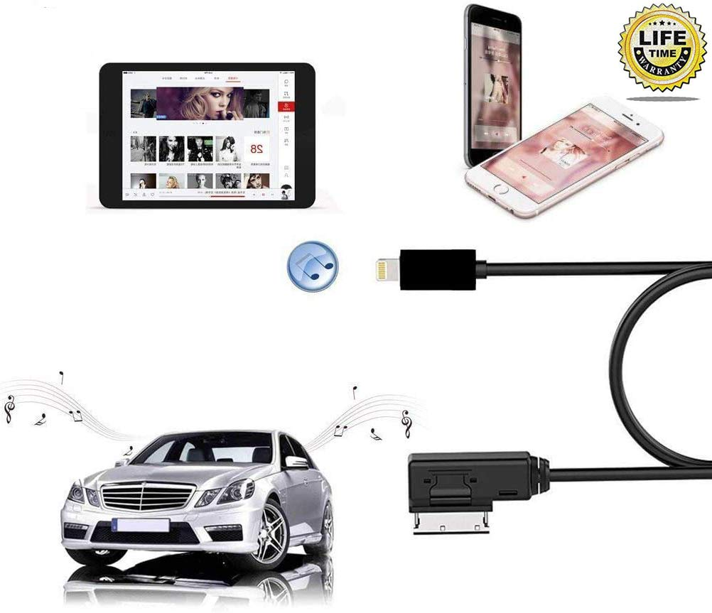 Car AMI AUX Cable 11 5c 5 XS//Max//X// 8//7 //6 //6s 5s for Audi and VW 2 in 1 Car Music Audio and Charging Adapter Cord Compatible with iPhone 11 Pro Plus Small