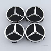 Autowoor Black Wheel Center Hub Caps Mercedes Benz,75mm/3 Inch Fit for Mercedes Benz All Models with (4 pcs)
