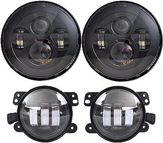 DOT Approved 7'' Black LED Headlights + 4 ''Cree LED Fog Lights for Jeep Wrangler 97-2017 JK TJ LJ
