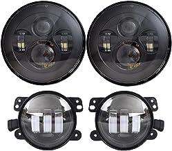 Sponsored Ad - DOT Approved 7`` Black LED Headlights + 4 ``Cree LED Fog Lights Compatible with Jeep Wrangler 97-2017 JK TJ LJ
