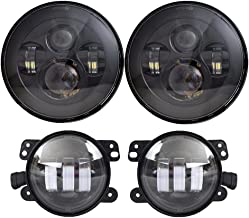 DOT Approved 7'' Black LED Headlights + 4 ''Cree LED Fog Lights for Jeep Wrangler 97-2017 JK TJ LJ