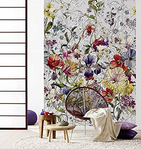 Komar Hochwertige Papier Fototapete Flora, Größe 184 x 254 cm (Breite x Höhe), 4 Teile, inklusive Kleister, Made in Germany, Bunt, 4-201