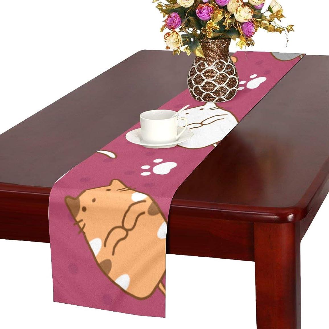 富乳白色馬力GGSXD テーブルランナー 面白い 赤い猫 クロス 食卓カバー 麻綿製 欧米 おしゃれ 16 Inch X 72 Inch (40cm X 182cm) キッチン ダイニング ホーム デコレーション モダン リビング 洗える