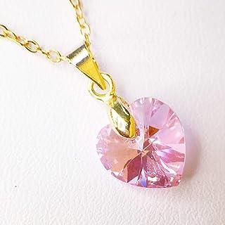 Collar de Piedra del mes Octubre Cuarzo Color Rosa con corazón de Swarovski, October Pink Quartz Swarovski Birthstone Necklace - Tutti Joyería