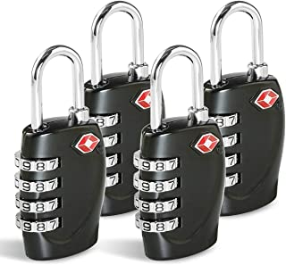 TSA Approved Luggage Combination Locks, TERSELY (4 Pack) 4 Digit Combination Padlock with Alloy Body TSA Lock for Travel B...