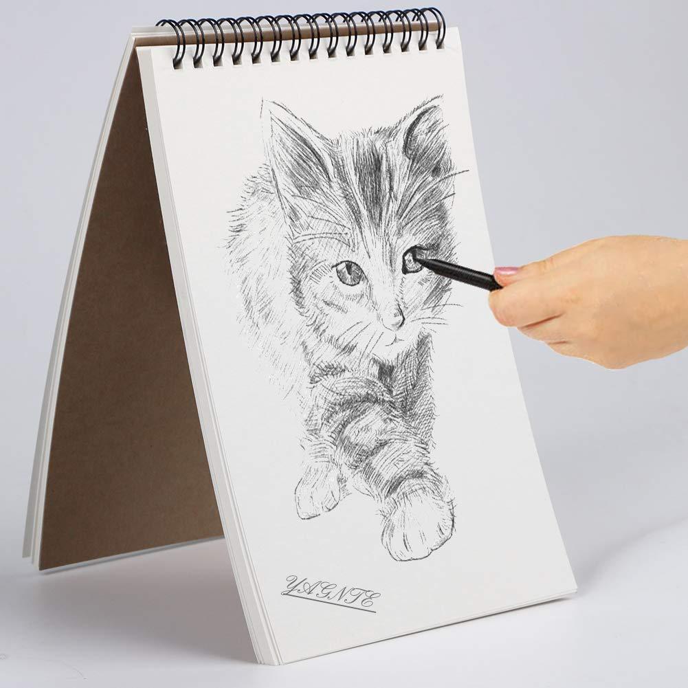 Bloc de bocetos, encuadernado en espiral, color blanco, 160 g/m², 60 páginas/30 hojas de dibujo A5 Sketch Pad - 2 Pack: Amazon.es: Hogar