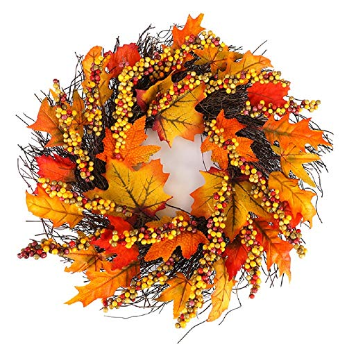 Hoomall 17'' Fall Wreath for Front Door, Fall Berry Maple Wreath, Flower Thanksgiving Wreath for Front Door, Hanging Home Party Wreath Decoration Halloween Thanksgiving Decor Wreath Inside Outside