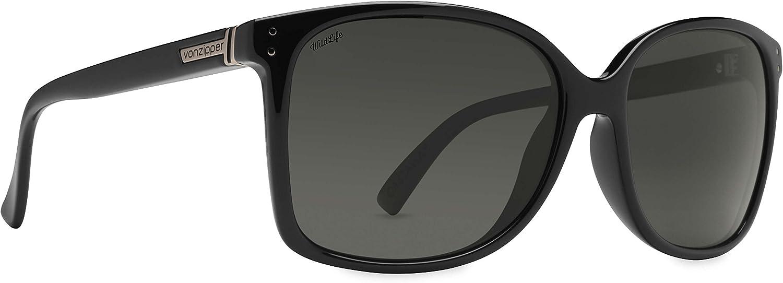 VonZipper Womens Castaway Sunglasses, Black Gloss   Wildlife Vintage Grey, One Size