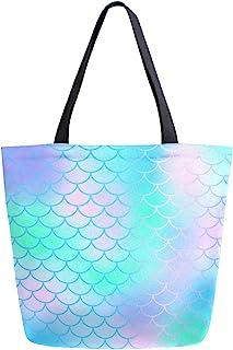 Kcldeci Magic Rainbow Mermaid Tail Damen Einkaufstasche Segeltuch Handtaschen für Bücher, Pink Grün Lila DIY Craft Casual Schulter Arbeit Lunch Bag Geschenk Taschen für Lehrer Student Mutter Strand Party Büro