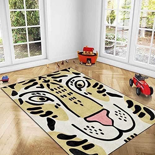 makeups1 Alfombra salón Grande Pelo Corto Cabeza de Tigre de Dibujos Animados Minimalista Antideslizante fácil de Limpiar Tapete para Dormitorio,Comedor,Habita 160×230CM(5ft3 x7ft8)