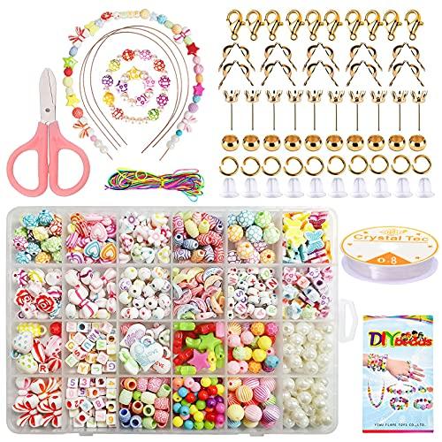 Perlas para enhebrar para niños, 564 piezas de bisutería de cuentas, pulsera DIY, juego de joyas para niños, con cordón elástico, tijeras de seguridad y manual para la fabricación de