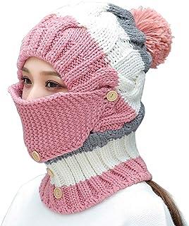 Women's Winter Windproof Warm Plus Velvet Knit Hat Scarf Set with Face Mask Thicken Ski Earmuffs Cap