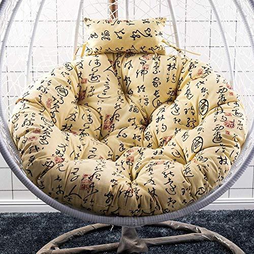 N /A, cuscino per amaca in rattan, cuscino per sedia a dondolo, rotondo da appendere, con cuscino da giardino in vimini per esterni, cuscino per sedie da giardino (solo cuscino), 105 x 110 cm