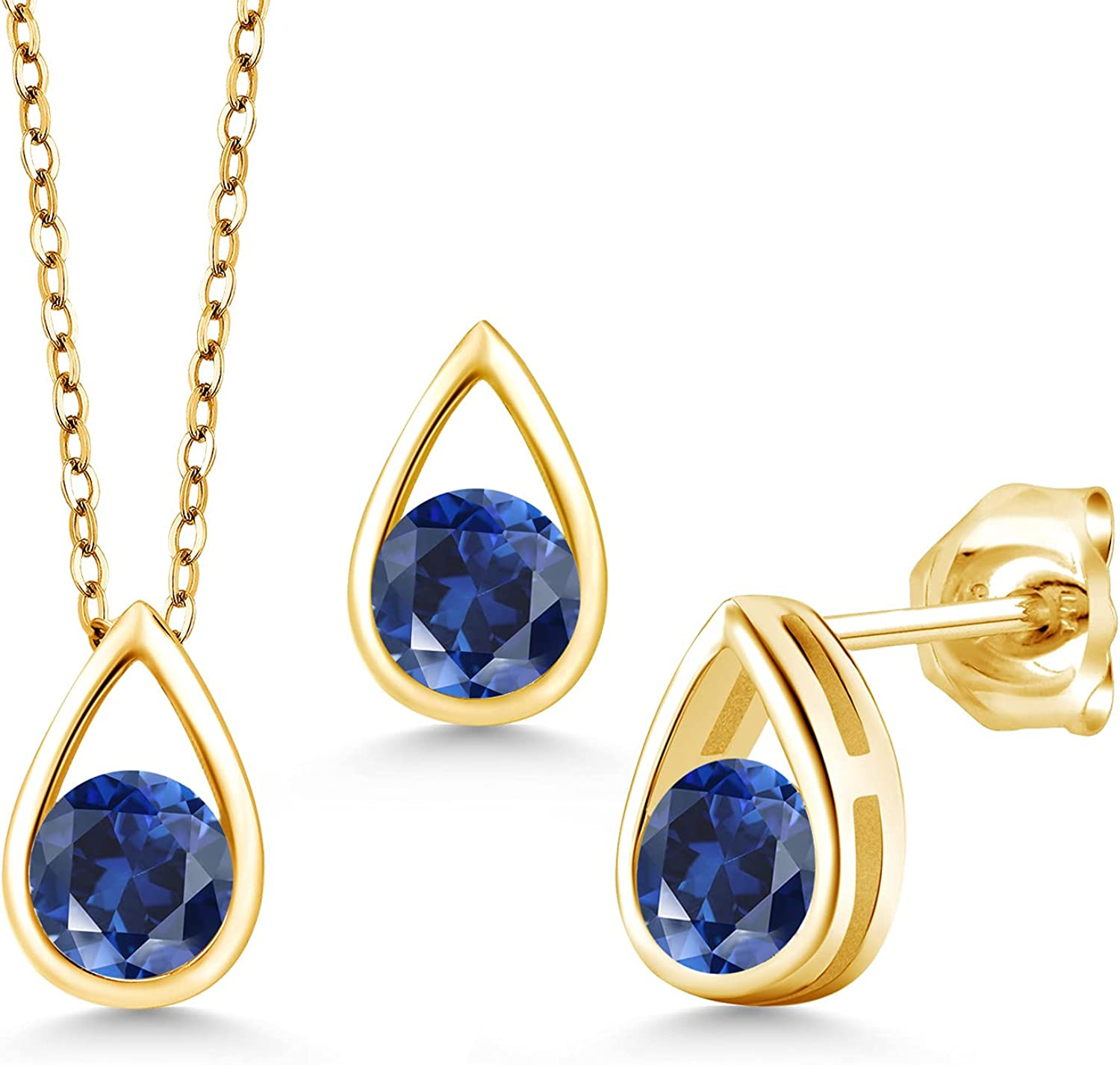 Gem Stone King 1.80 Ct Round Yellow Created Blue Go Sapphire Super beauty product restock quality top 18K Ranking TOP4