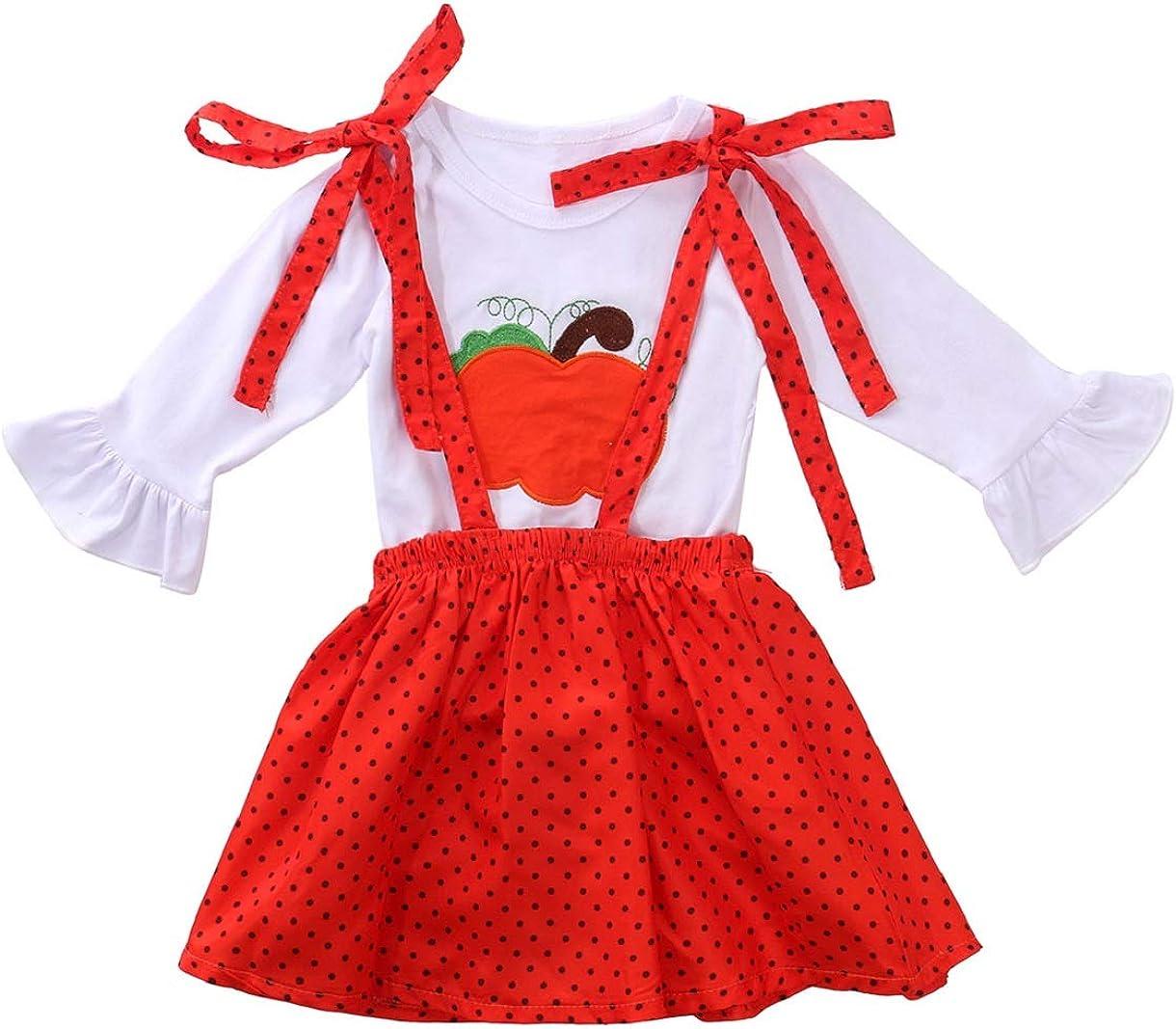 Toddler Kids Baby Girls Turkey Flared Sleeve T-Shirt Blouse+Dots