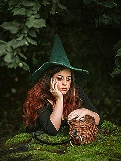 Sombrero de bruja verde de lana dark wicca halloween disfraz cosplay cottagecore dark acedemia goblincore