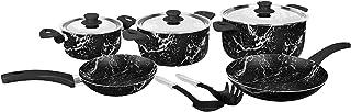 جراندي كوك طقم رخام 10 قطع حلة 16-22-26 + مقلاة 20-22 + 2 ادوات مطبخ مجانا (رخام اسود)