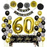 Decoraciones para Fiesta de Cumpleaños Kit de Oro Negro - Paquetes de Suministros para Mujeres y Hombres, Feliz Cumpleaños Banner PomPoms Globo de Papel Mantel Desechable para Papá Mamá 60 Cumpleaños