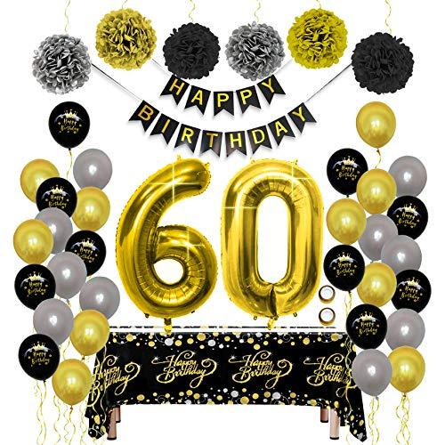 Geburtstag Dekoration Schwarz Gold Set, Geburtstagsdeko mit Happy Birthday Banner Luftballon Tischdecke PomPom Folienballon Buchstaben 60 für Männer frau Papa Mama Vater Mutter Opa Oma 60er Party Deko