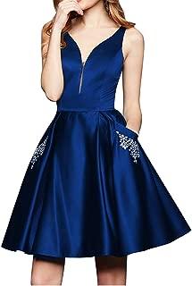 V-Neck Homecoming Dresses Satin Beaded Pockets Short Long Cocktail Prom Dresses