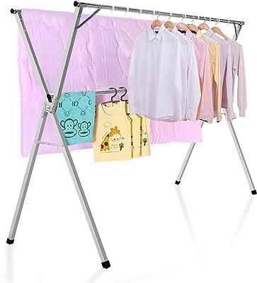 BQKOZFIN 物干し 布団干し 伸縮式 X型 ものほしざお 屋外 室内物干し 折り畳み 洗濯物干し 省スペース ベランダ 風に強い 錆びない 大容量 長さ調節可能1.3-2M