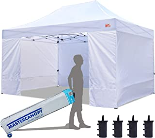 MASTERCANOPY Ez Pop-up Canopy Tent 10x15 Commercial Instant Canopies with 4 Removable Side Walls and Roller Bag, Bonus 4 SandBags (10x15 Feet, White)