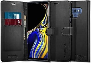 【Spigen】 スマホケース Galaxy Note9 ケース [ SC-01L SCV40 ] 対応 手帳型 レザー カード収納付き ワイヤレス充電対応 ウォレットS 599CS24579 (ブラック)