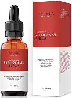 etunia Skincare Retinol Serum for Face With Hyaluronic Acid, Natural Jojoba Oils, Vitamin E, Witch Hazel and Green Tea, Anti Aging, Anti Wrinkle Exfoliating Skin Repair, Fades Age & Dark Spots