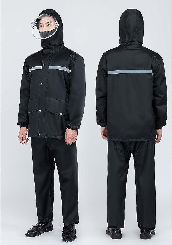 FHGH Double-Layer Commuter Split Raincoat, Thickened Reflective Men's Raincoat Set, Detachable Double Brim,B,XXXLarge