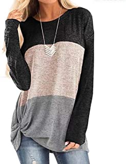 Frieed Women's Fashion Long Sleeve Top Loose Color Block Twist Knot Blouse T-Shirts