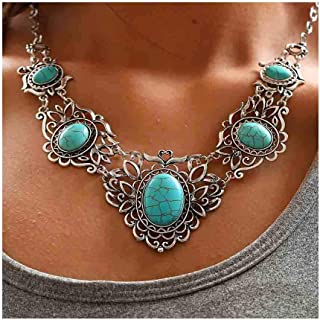 Chicer Bohemian Turquoise Necklace Earrings Set Pendant Carving Chain Jewelry for Women and Girls (Green)