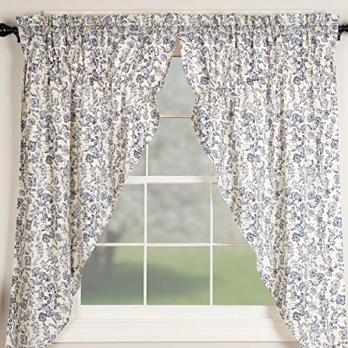 """Piper Classics Doylestown Blue Floral Prairie Curtains, Gathered Swags, 63"""" Long, Bue & Cream Flower Print, Vintage Farmhouse, Country Cottage Window Treatment"""