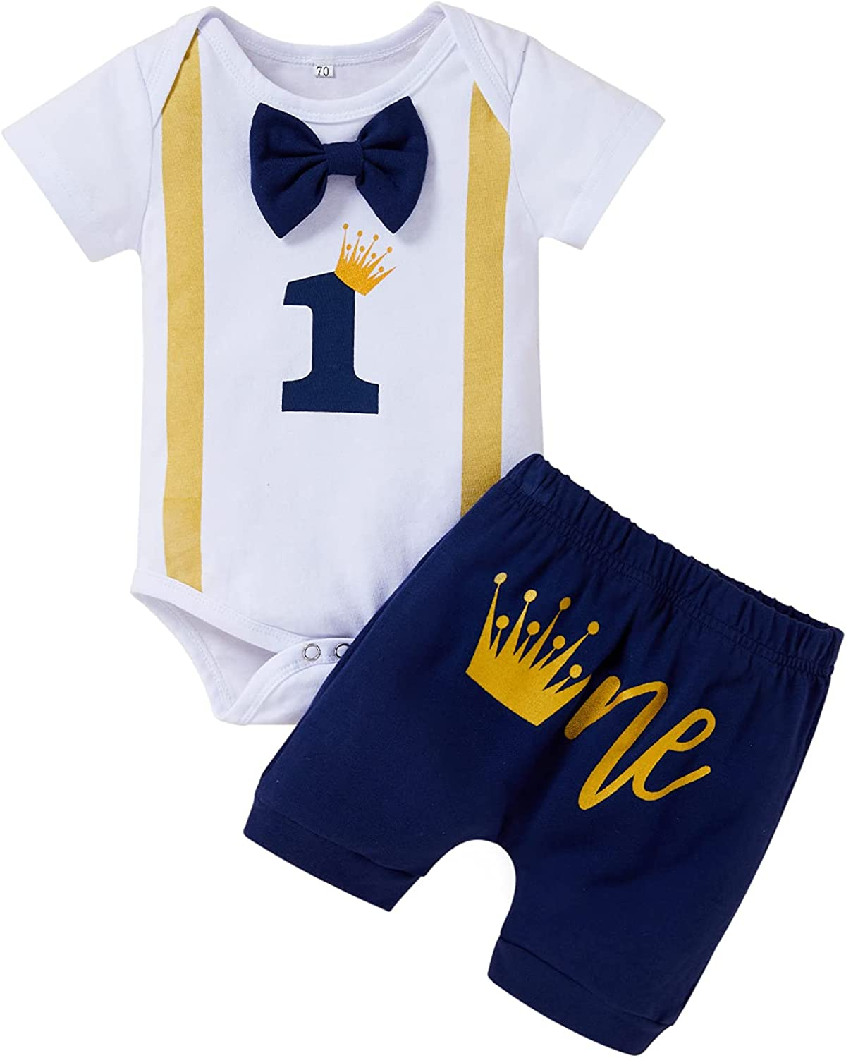Baby Boy 1st Crown Birthday Infant Shorts Max 76% OFF Gentleman OFFicial mail order Set Bow