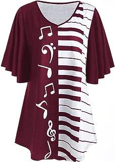 CharMma Women's Plus Size V Neck Short Sleeve Piano Keyboard Print Tunic T-Shirt