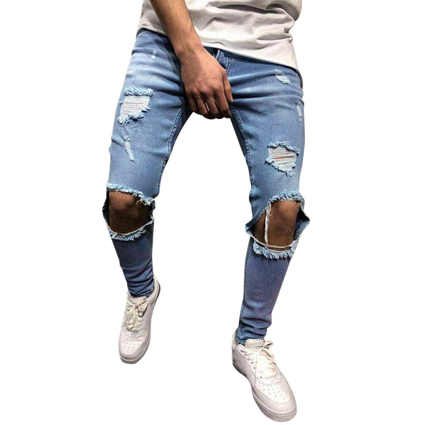 Willsa Men's Pants, Skinny Stretch Denim Pants Distressed Ripped Freyed Slim Fit Jeans Trousers