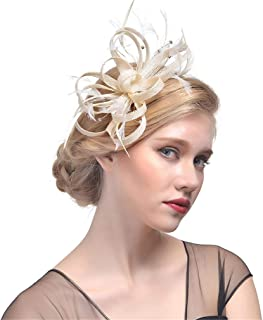 DARLING HER Hat Women Net Feather Hair Clip Great Gatsby Wedding Cocktail Ascot Race Party Hair Decor Headwear