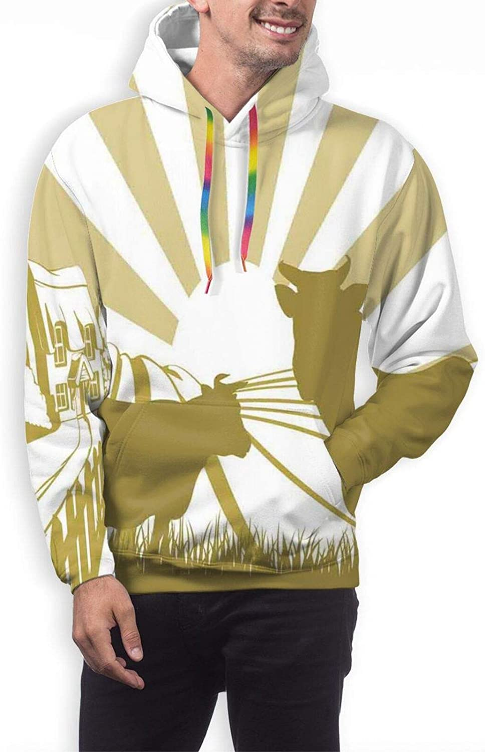Men's Hoodies Sweatshirts,Silhouette Floral Pattern with Colored Cartoon Bees Flying in Botany Nature