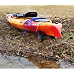 """THEKAYAKCART KC-7 Ultra Portable Kayak & Canoe Cart 12 TheKayakCart has an extremely flexible cradle adapts to various hull shapes. Comes with dual strap attachments, buckles and hook.. Wheels are removable via quick release pins. 7"""" co-polymer wheels w rubber tread will cover just about any terrain. """" Weight capacity is 165 lbs. Weight is 2.85 Lbs. Dim.13.25"""" x 10"""" x 10 With TheKayakCart getting your kayak or canoe to the water by yourself has never been easier. Just strap, roll, and launch! Durably designed and engineered for SIT IN RECREATIONAL kayaks, canoes, and rowing shells, TheKayakCart can be quickly, easily, and securely attached in minutes to any shaped bow or stern. TheKayakCart has three optional wheel types."""