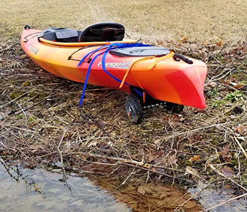 """THEKAYAKCART KC-7 Ultra Portable Kayak & Canoe Cart 3 TheKayakCart has an extremely flexible cradle adapts to various hull shapes. Comes with dual strap attachments, buckles and hook.. Wheels are removable via quick release pins. 7"""" co-polymer wheels w rubber tread will cover just about any terrain. """" Weight capacity is 165 lbs. Weight is 2.85 Lbs. Dim.13.25"""" x 10"""" x 10 With TheKayakCart getting your kayak or canoe to the water by yourself has never been easier. Just strap, roll, and launch! Durably designed and engineered for SIT IN RECREATIONAL kayaks, canoes, and rowing shells, TheKayakCart can be quickly, easily, and securely attached in minutes to any shaped bow or stern. TheKayakCart has three optional wheel types."""