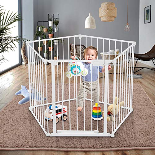5-in-1 Baby Safety Gate, 128 Inch Super Wide Configurable Baby Gate, Fireplace Safety Fence with 5-Panel, Fence Play Area Pet Dog Fence (White)