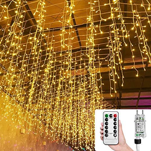 Aufun 15m LED Lichterkette außen und innen 600 LEDs Deko Regenkette IP44 Schutz, 8 Modi mit Stecker, Fernbedienung mit Timer, Halloween Weihnachten Hochzeit Party, Eisregen Form, Warmweiß