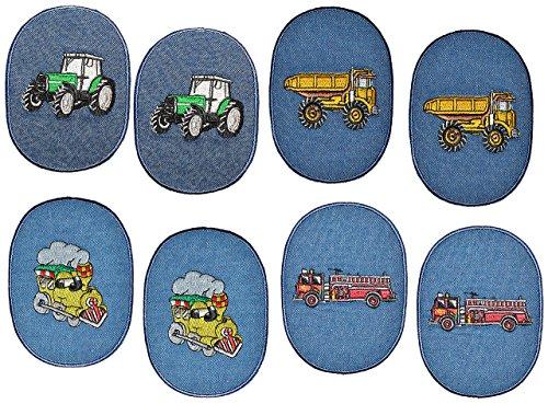 8 Stück - ovaler Flicken / Bügelbild Jeans - Fahrzeuge - 8,5 cm * 11,5 cm - oval - Bügelbilder - Aufnäher zum Bügeln und Aufnähen / Applikation für Jungen Kinder Fahrzeug