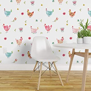 Spoonflower Peel and Stick Removable Wallpaper, Polka Dot Chickens Watercolor Farm Chicken Hen Animals Red Yellow Print, Self-Adhesive Wallpaper 24in x 144in Roll