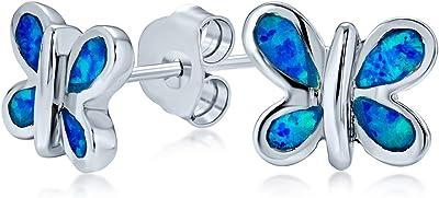 Piccolo giardino intarsio blu creato orecchini a farfalla opale per le donne per teen 925 sterling argento ottobre Birthstone