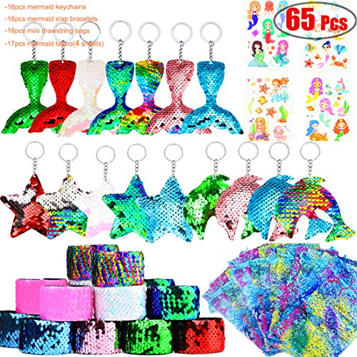Danirora Mermaid Party Favors, [52 Pack]Mermaid Keychains Sequin Gifts for Kids Birthday Party Supplies Goodie Bag Fillers Prize for 16 Girls