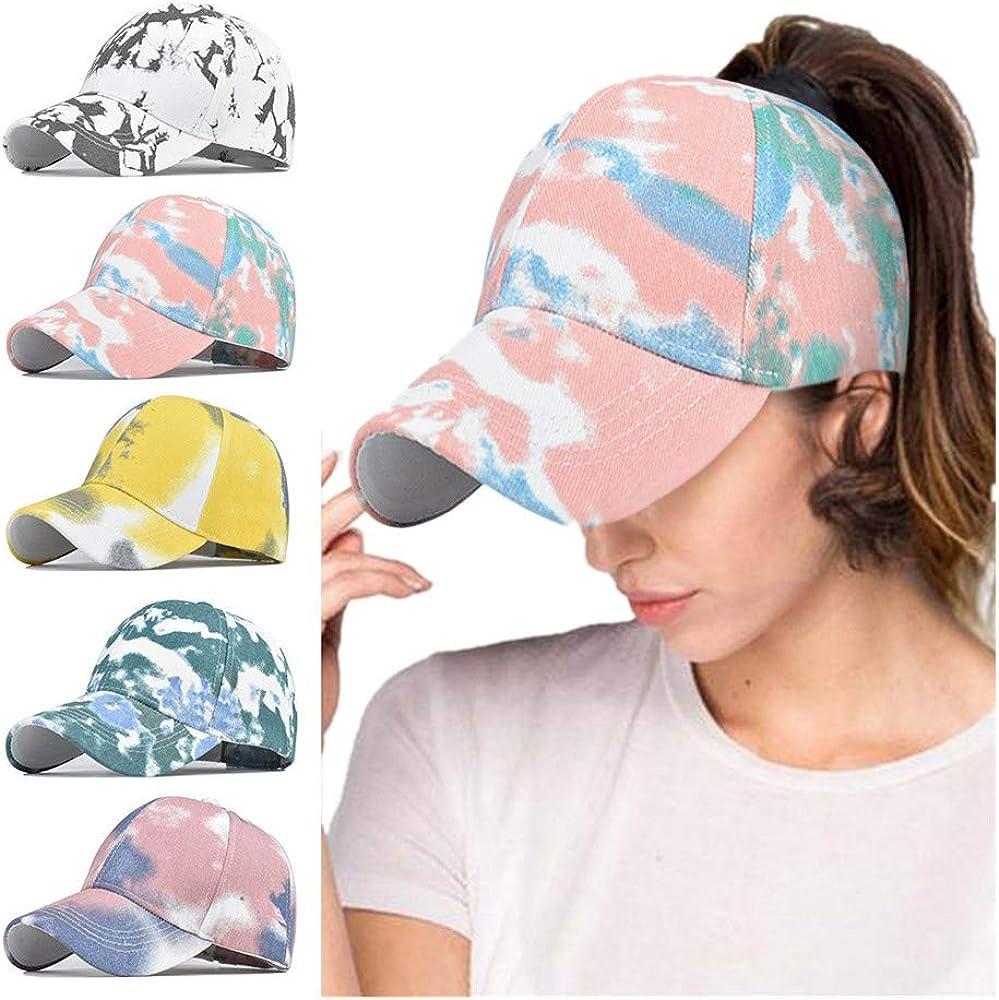Unisex Baseball Cap Dad Hat Ponytail Messy Bun Trucker Ponycaps Tie-dyed Sun Hat Adjustable Hat
