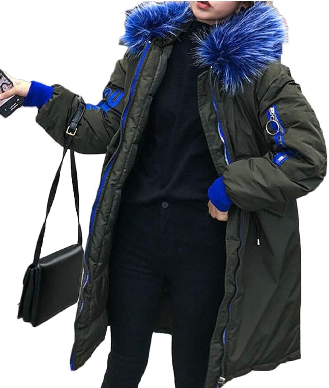 Women's Winter Warm Faux Fur Hooded Down Jacket Puffer Coats