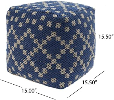 Christopher Knight Home Ophelia Outdoor Cube Pouf, Boho, Blue and White Yarn