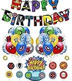 Kit de Decoraciones de Cumpleaños de Superhéroes Globos de Superhéroe Globos de Látex deSuperhéroes Cupcake Toppers Pancarta de Fiesta de Superhéroes Suministros de Fiesta Temáticos de Superhéroes